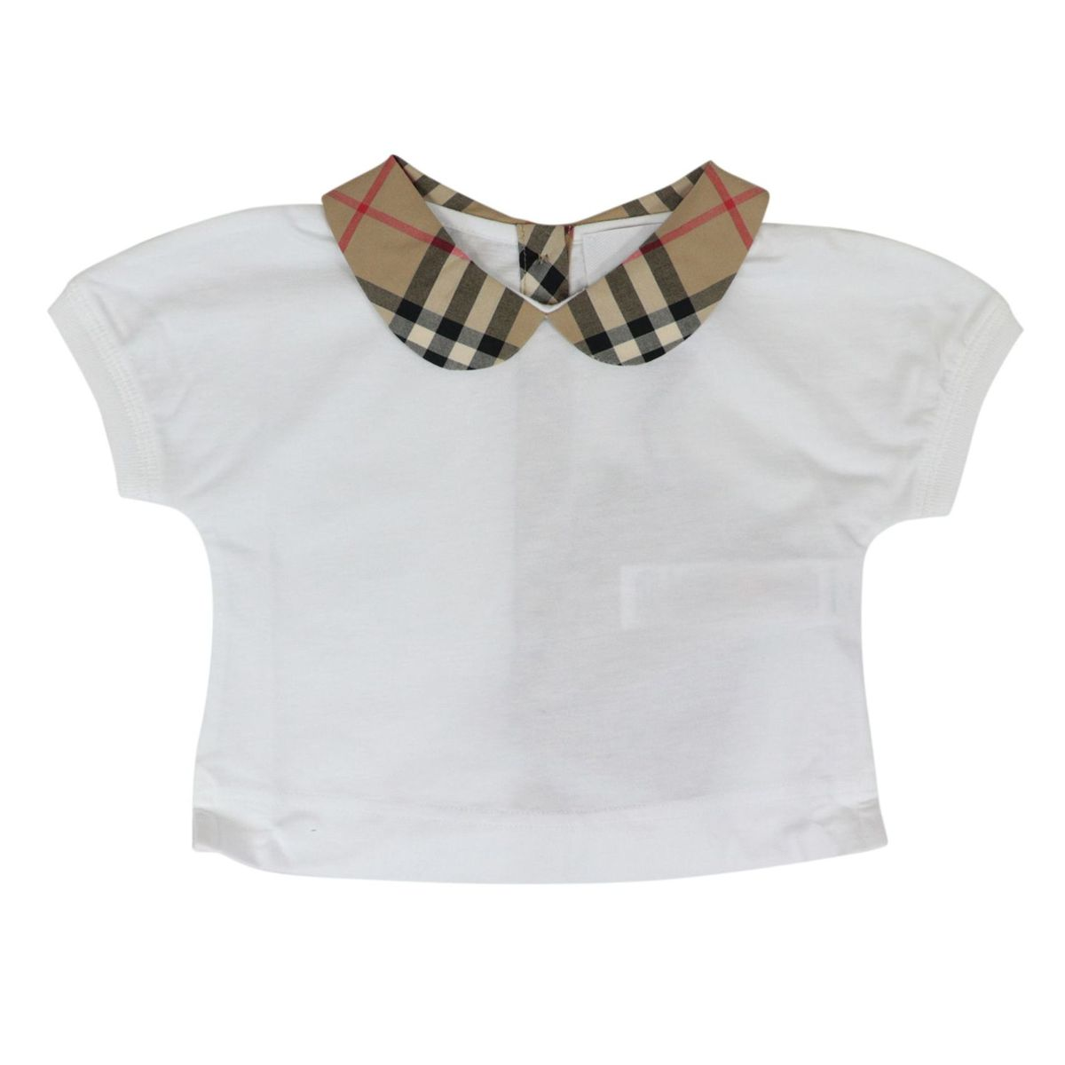 Short-sleeved cotton polo shirt with check pattern round collar White Burberry