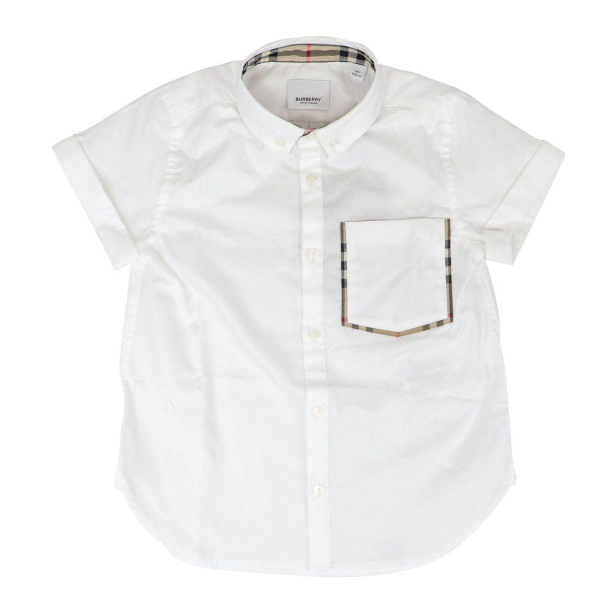 Harry short-sleeved cotton shirt with check fabric details White Burberry