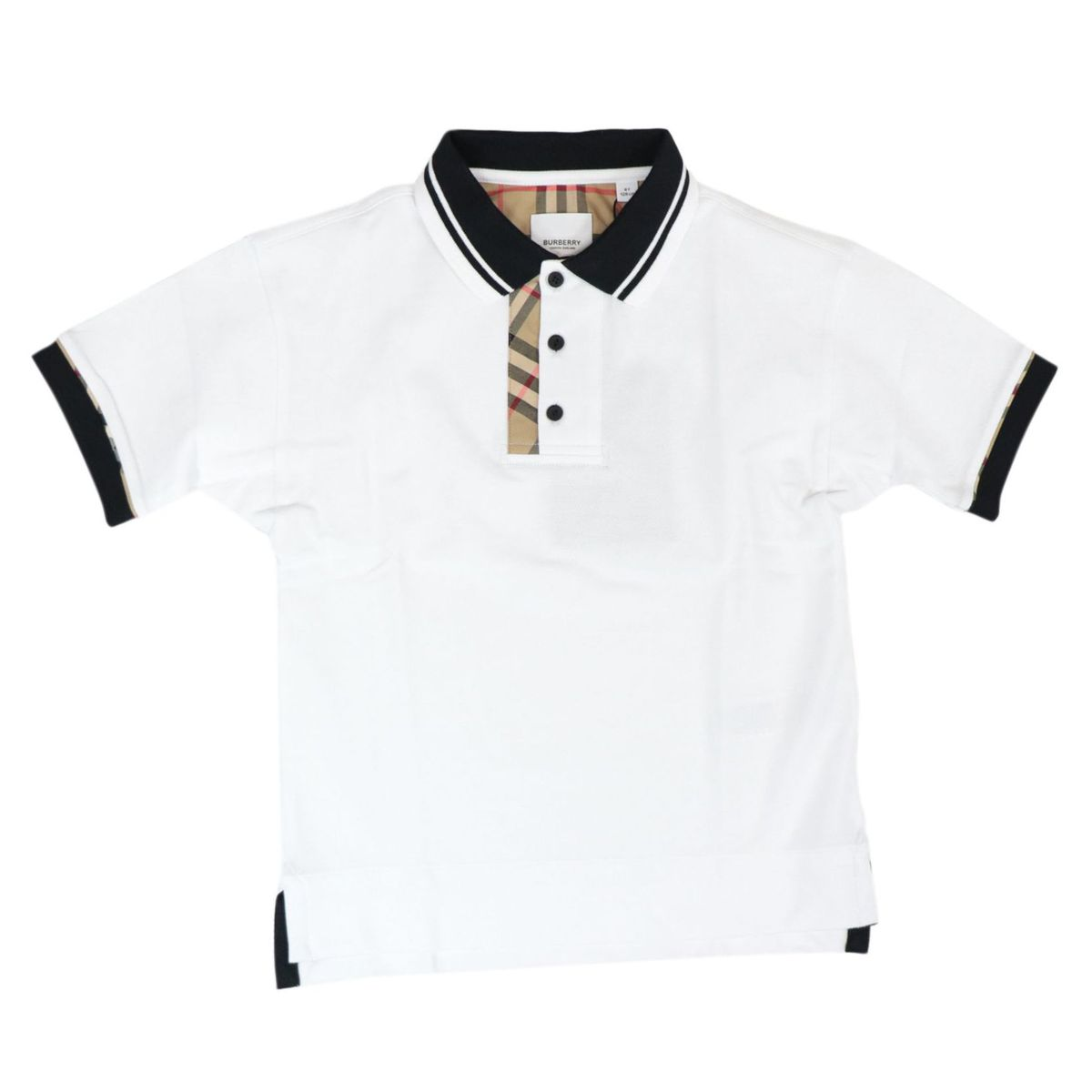 Archie polo shirt in cotton pique with contrasting profiles and check fabric details White Burberry