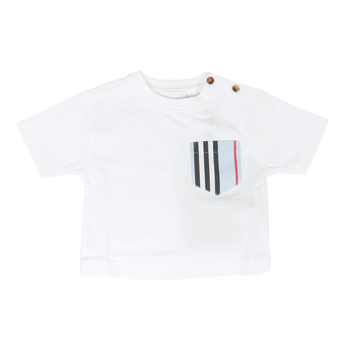 Short-sleeved cotton T-shirt with blue check pattern pocket White Burberry