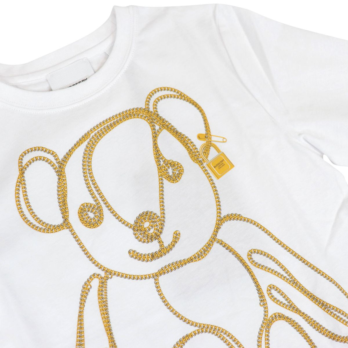 Short-sleeved cotton T-shirt with Chain Bear print White Burberry