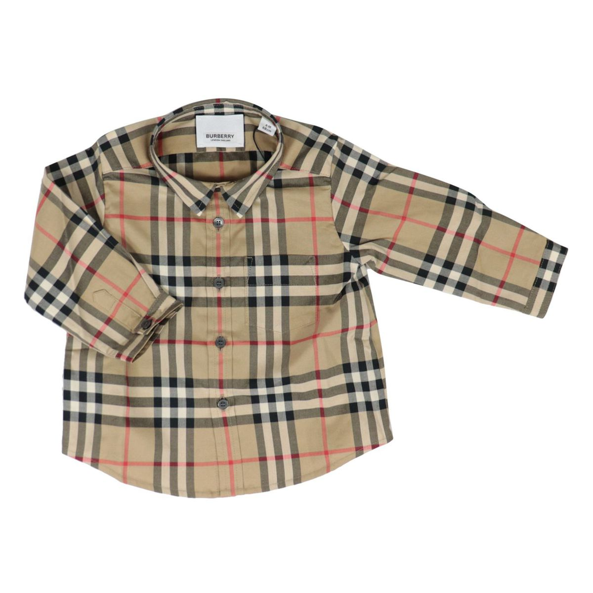 Fredrick long-sleeved shirt in cotton with check pattern Beige check Burberry