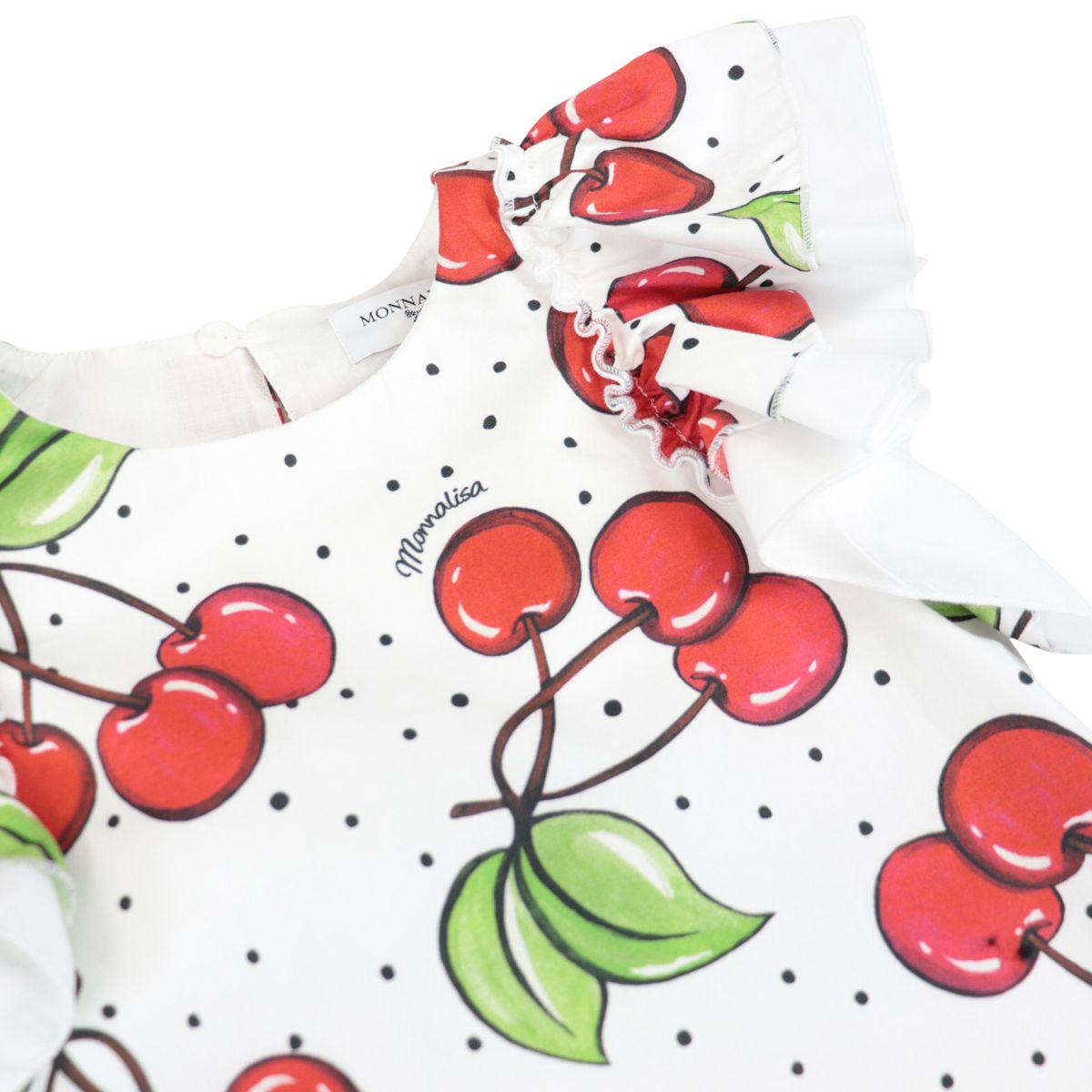Sleeveless cotton dress with cherry print White Monnalisa
