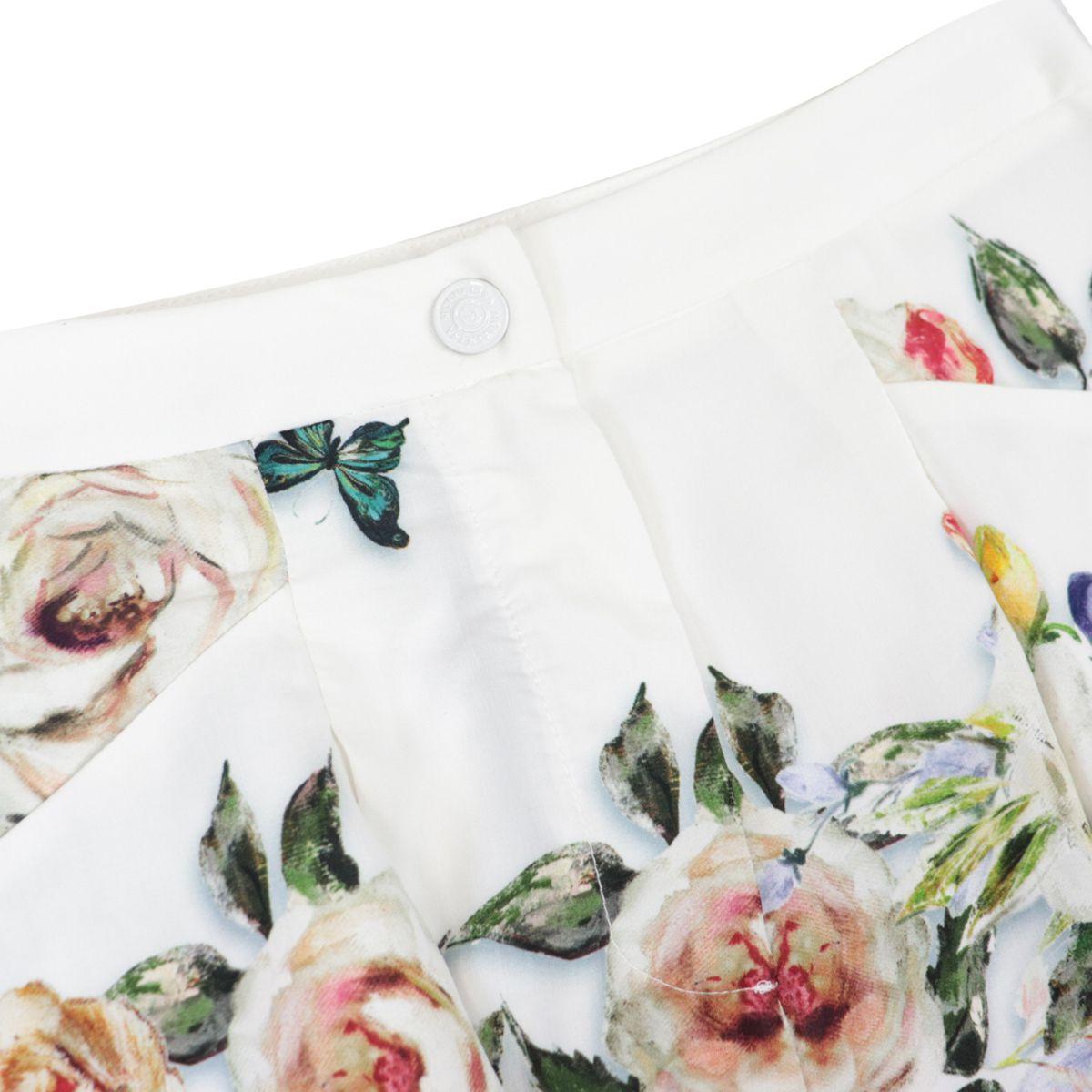 Summer Rhapsody print cotton shorts Cream Monnalisa