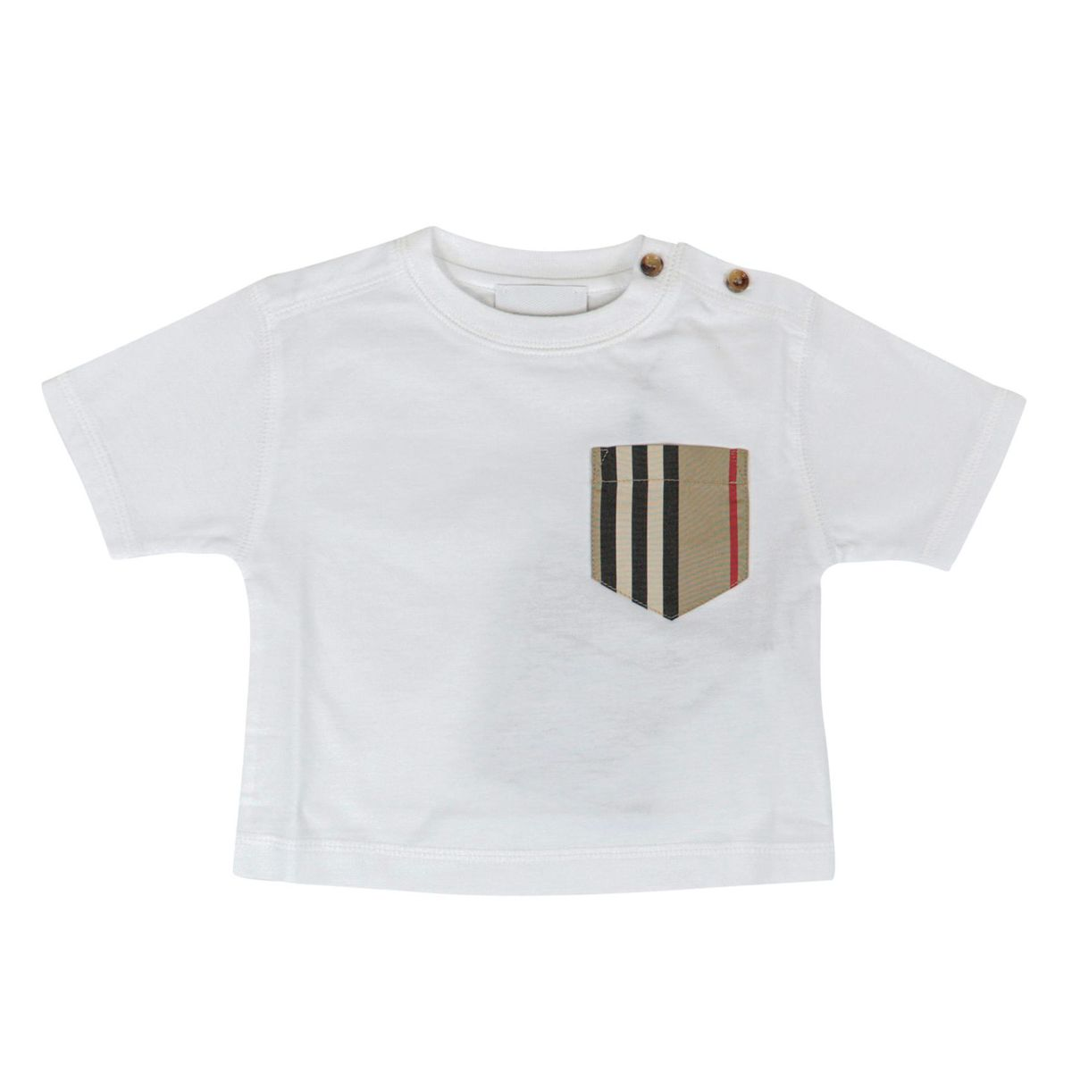 Short sleeve cotton t-shirt with check fabric pocket White Burberry