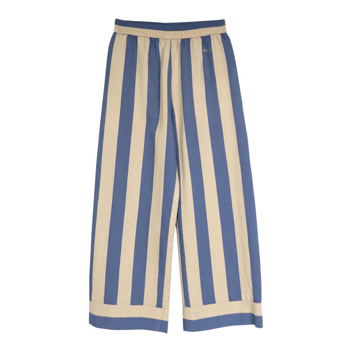 Striped Ibiza viscose pantapalazzo Beige / blue Monnalisa