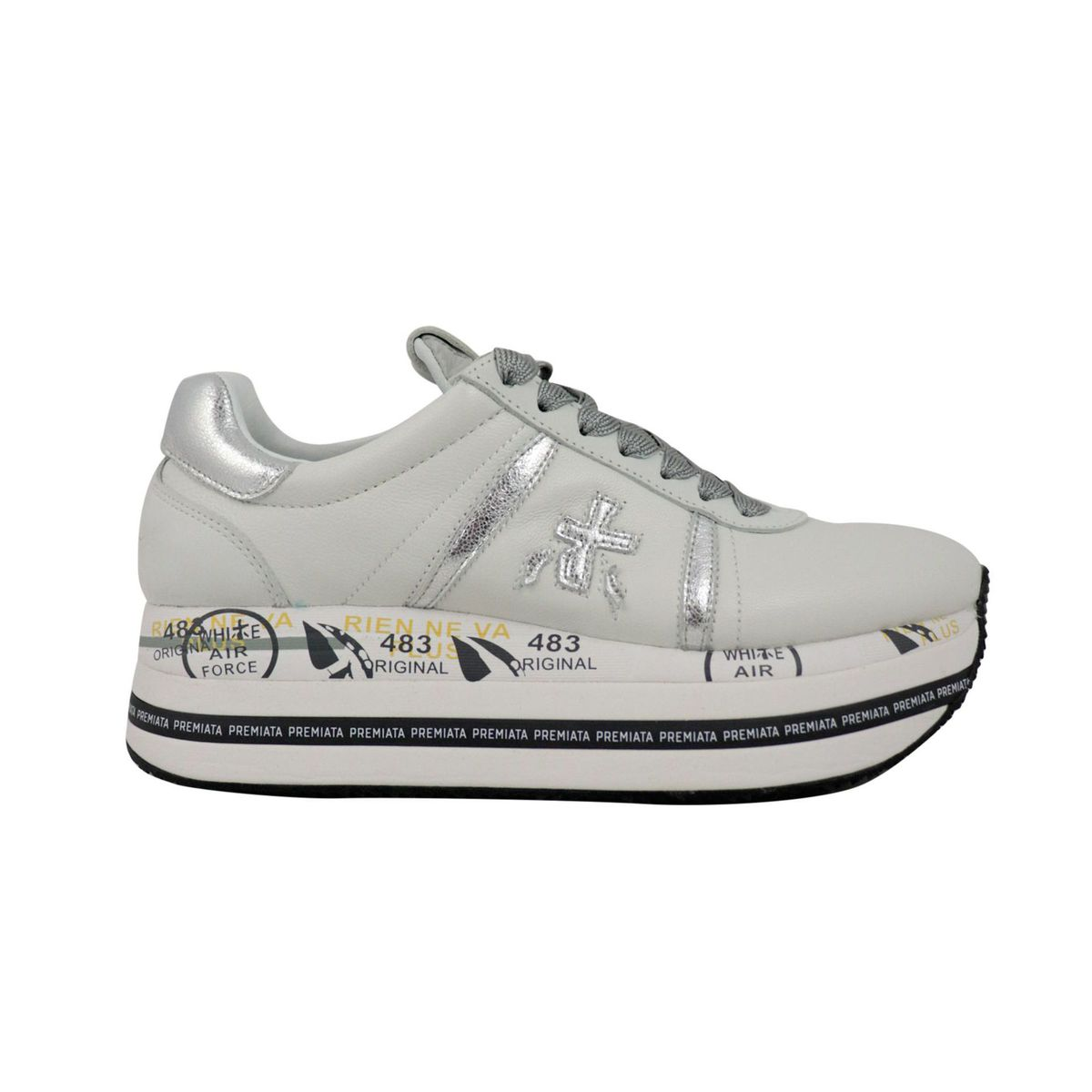 Beth sneakers in leather with contrasting prints White Premiata
