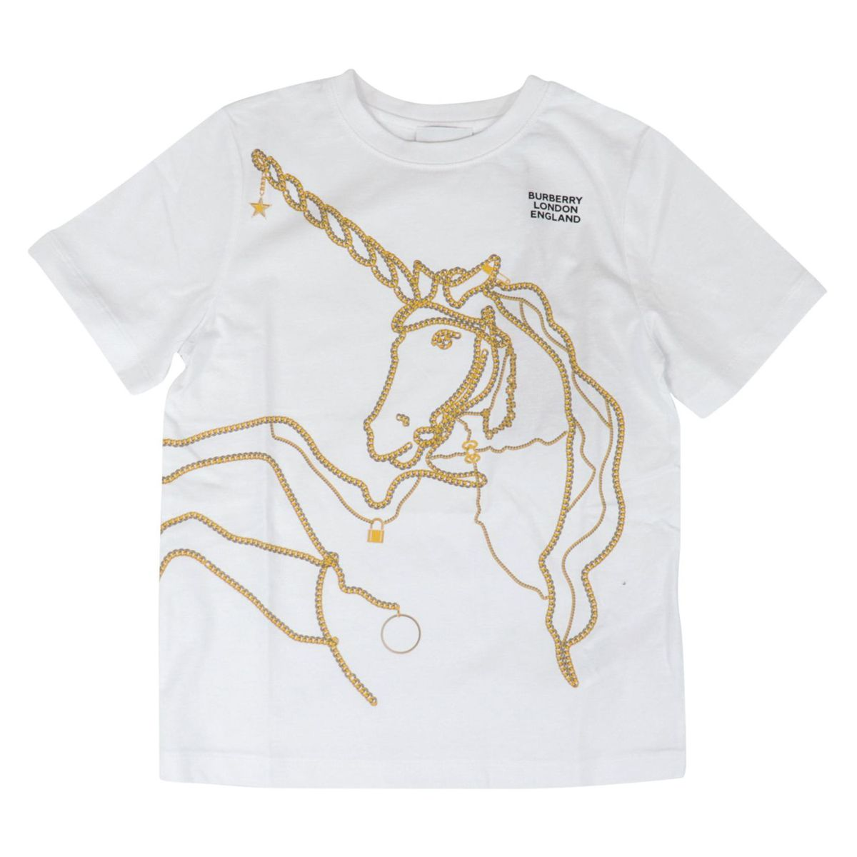 Short sleeve cotton T-shirt with Unicorn Chain print White Burberry