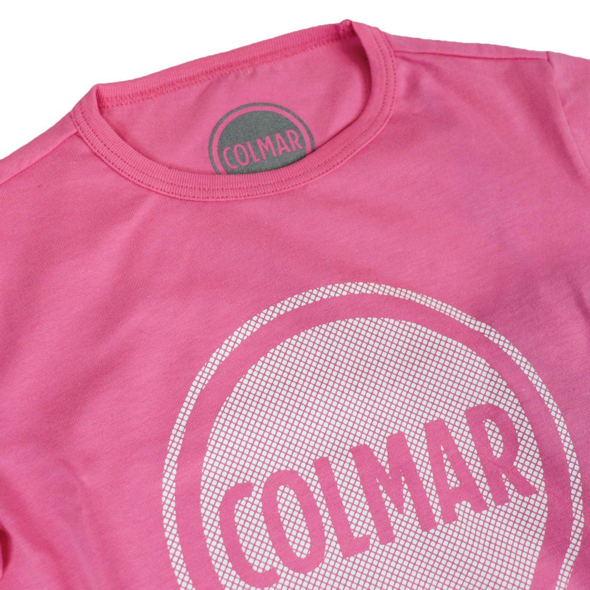 Crewneck t-shirt with mesh effect logo Pink Colmar