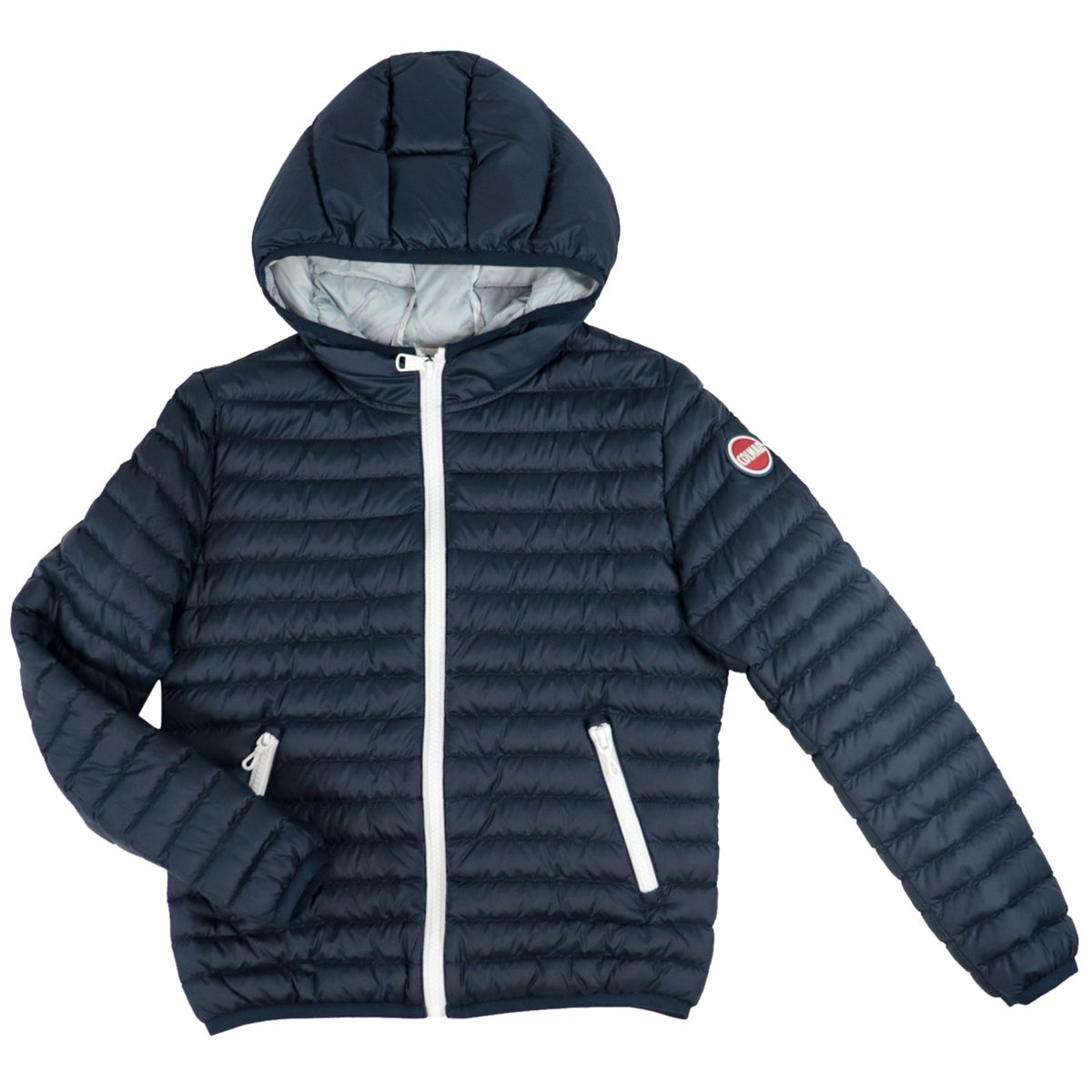 Semi-light quilted nylon down jacket with hood Blue Colmar