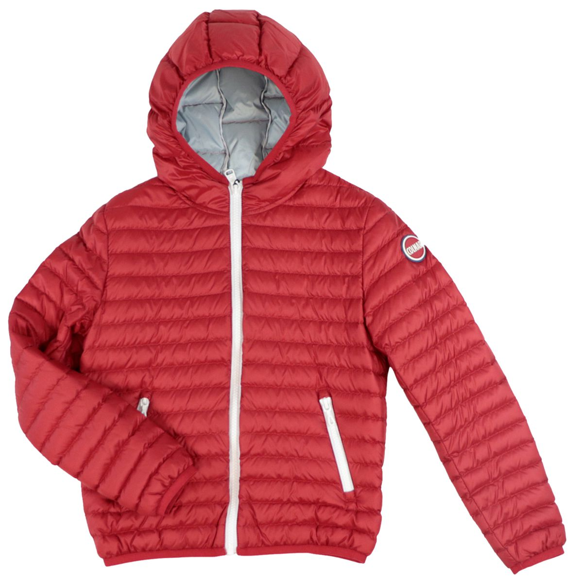 Semi-light quilted nylon down jacket with hood Red Colmar
