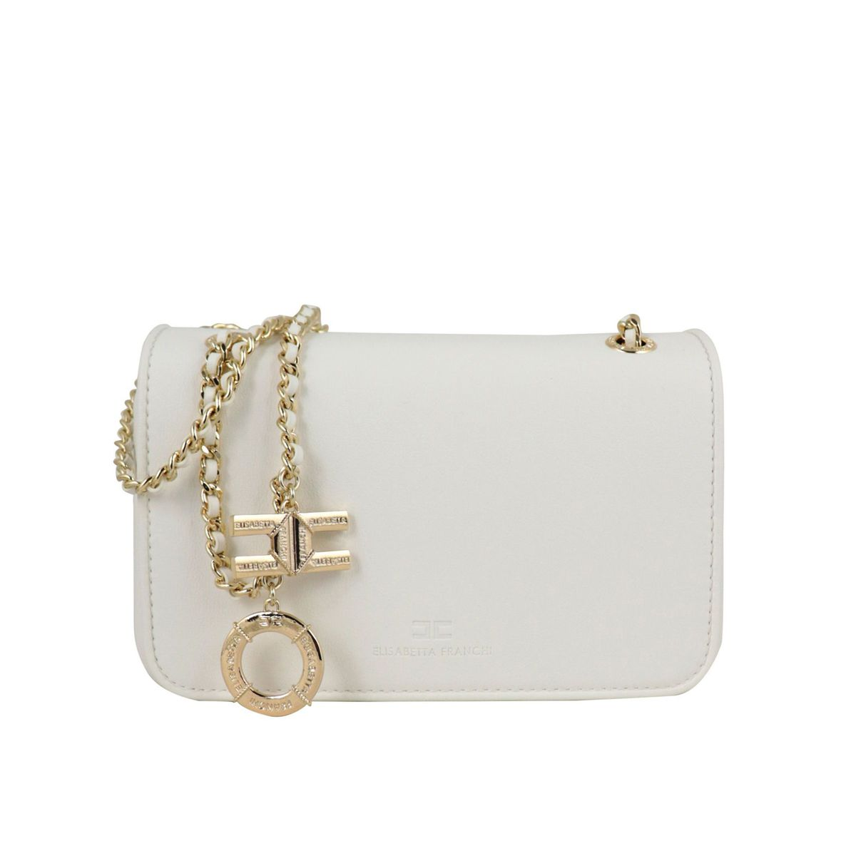 Mini bag with gold shoulder strap White Elisabetta Franchi