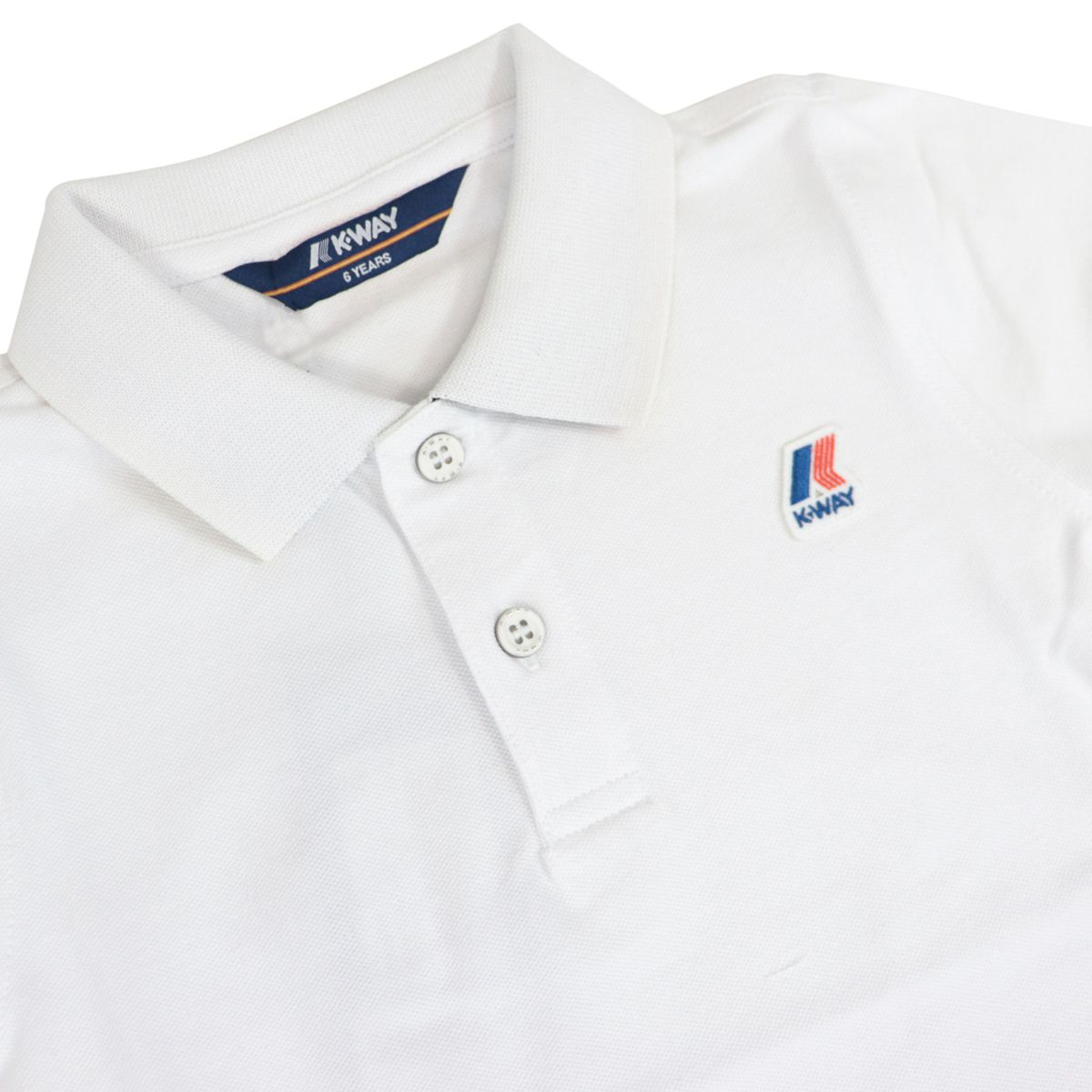 Vincent Contrast polo shirt in stretch cotton pique White K-Way