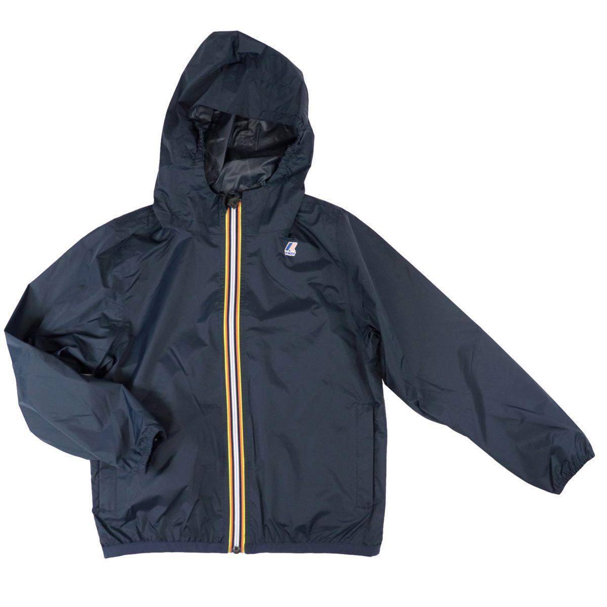 Le Vrai 3.0 Claude nylon jacket with hood Blue K-Way