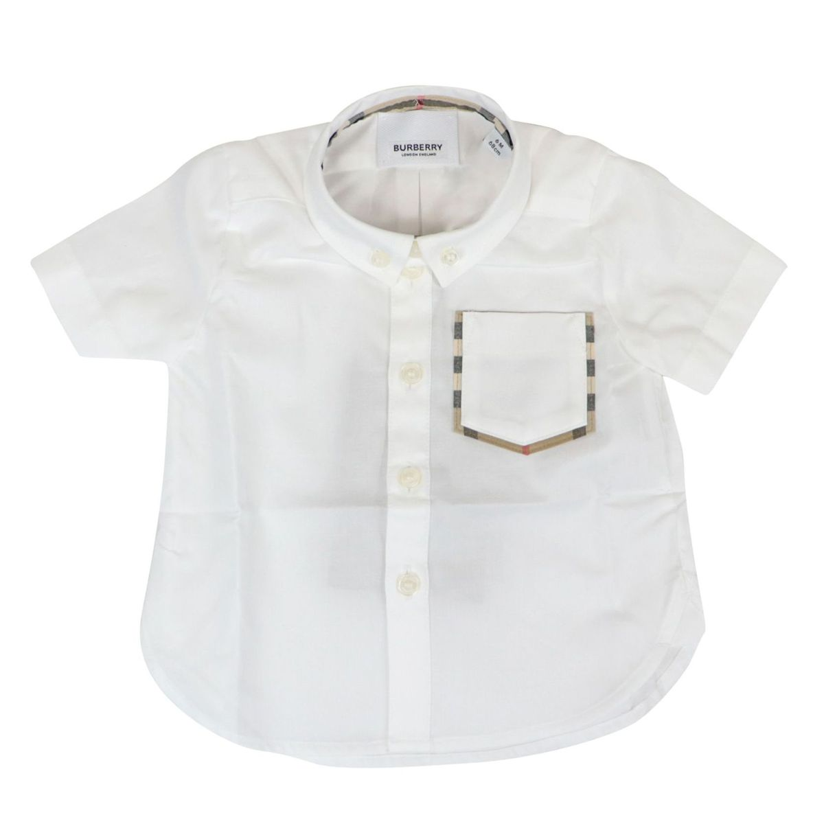 Harry short-sleeved cotton shirt with pocket and check pattern profile White Burberry