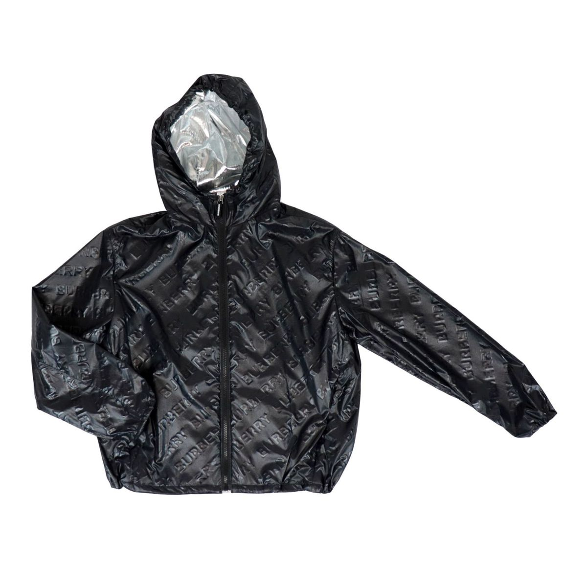 Nylon jacket with embossed logo effect Black Burberry