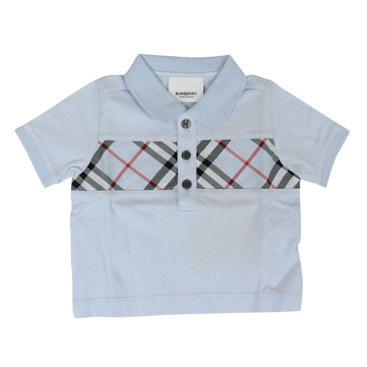 Mini Jeff polo shirt in cotton pique with check patterned front band Light blue Burberry