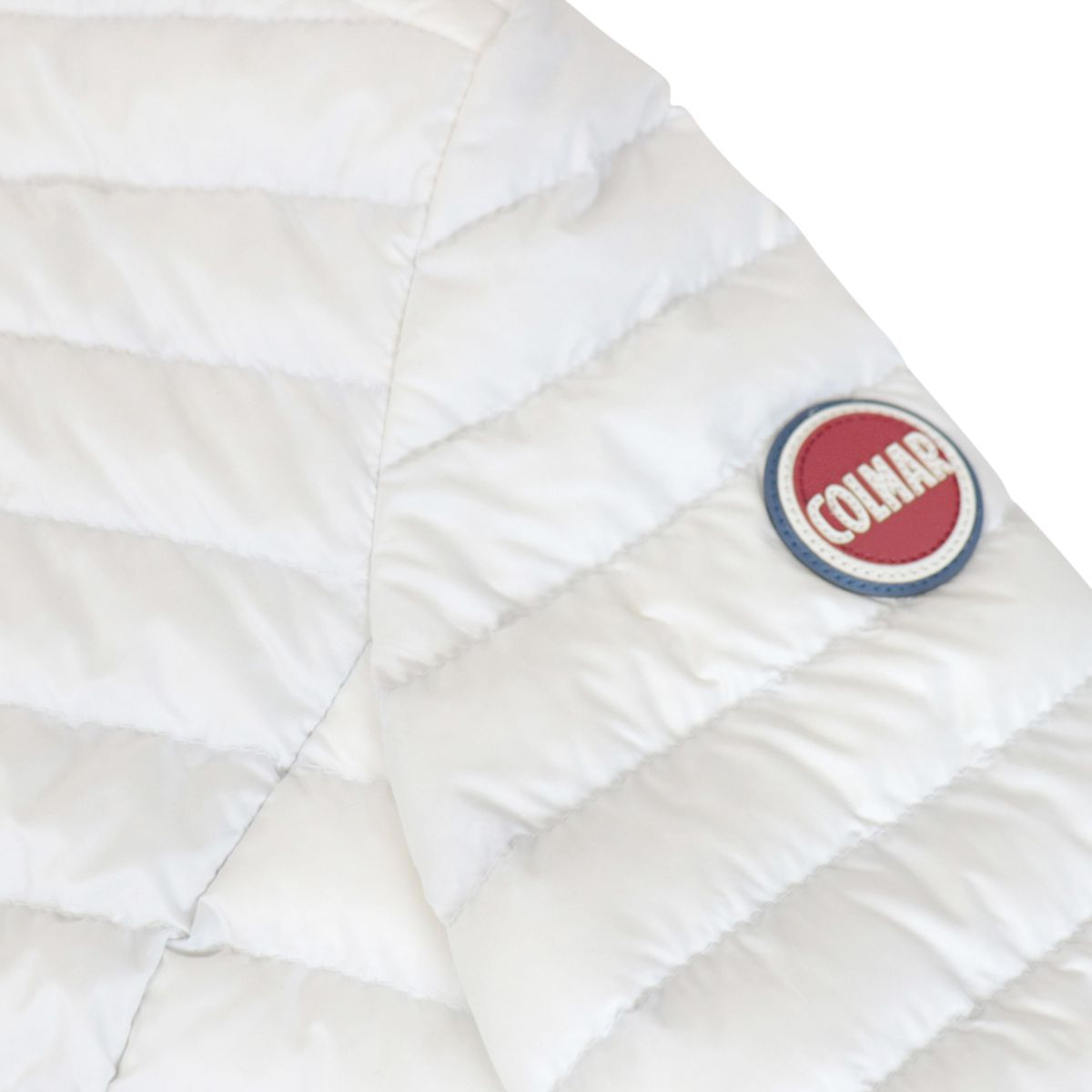 Quilted nylon down jacket with zip and logo White Colmar