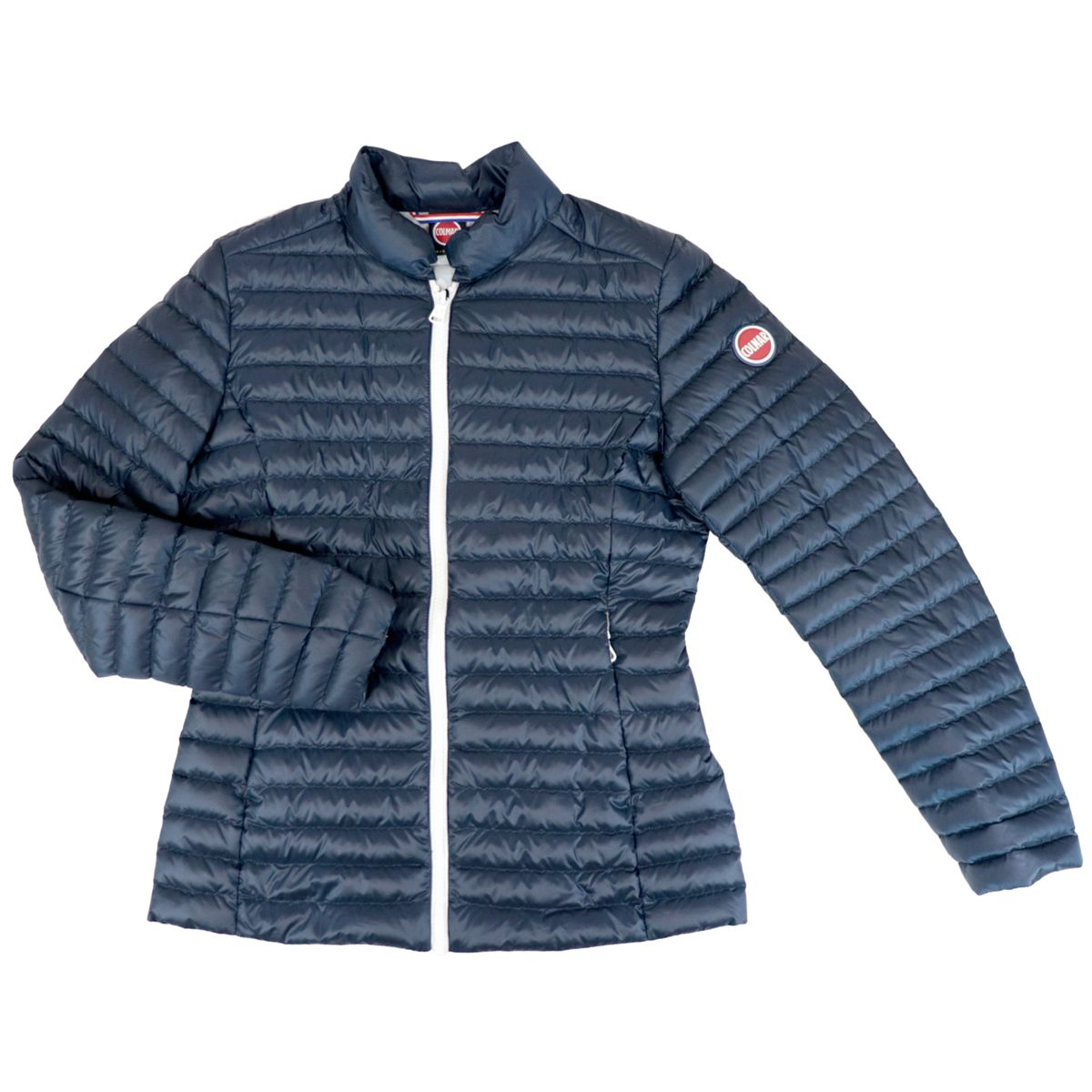 Quilted nylon down jacket with zip and logo Blue Colmar