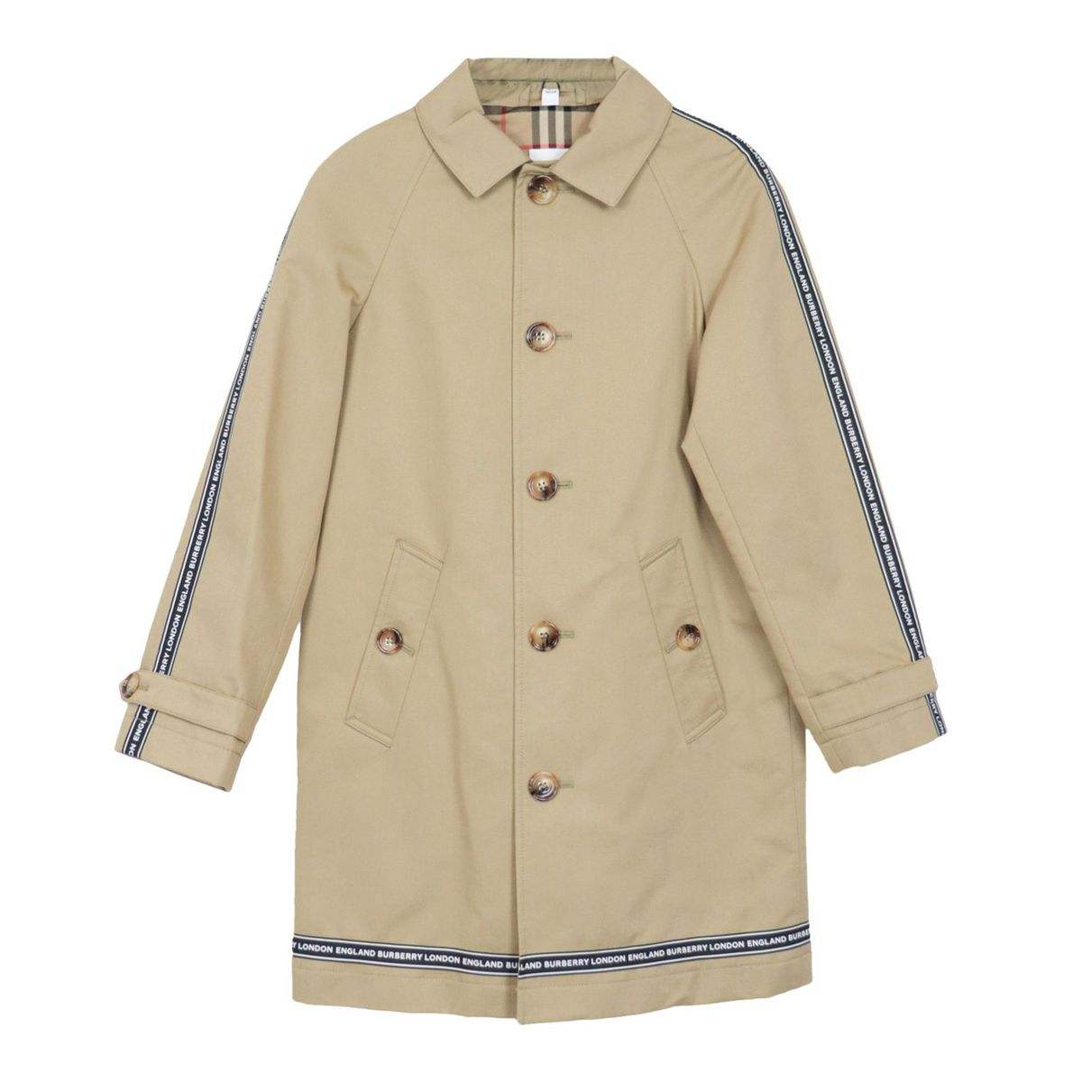 Bradley coat in cotton with logoed bands Honey Burberry