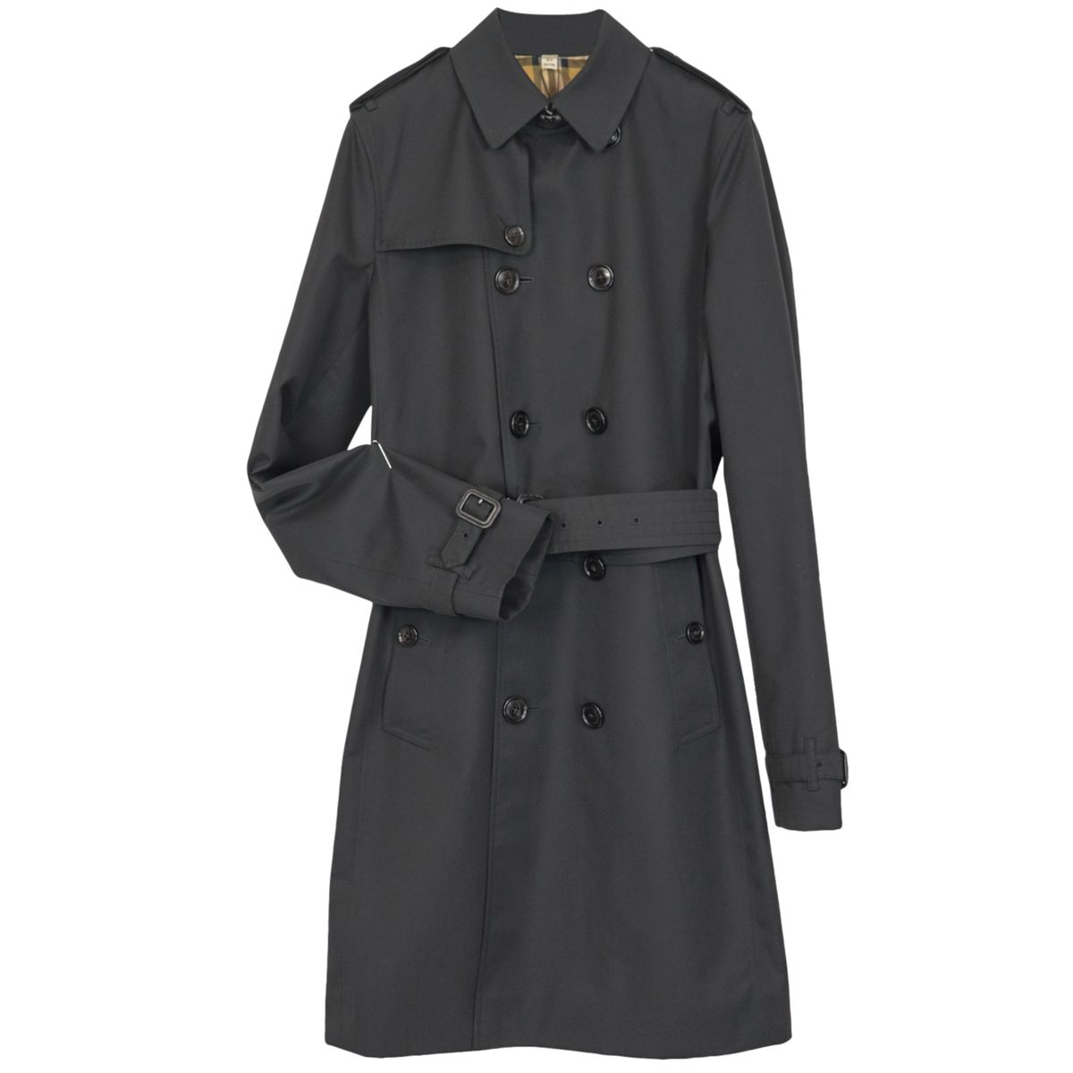 Mayfair cotton trench coat with check patterned inner lining Black Burberry