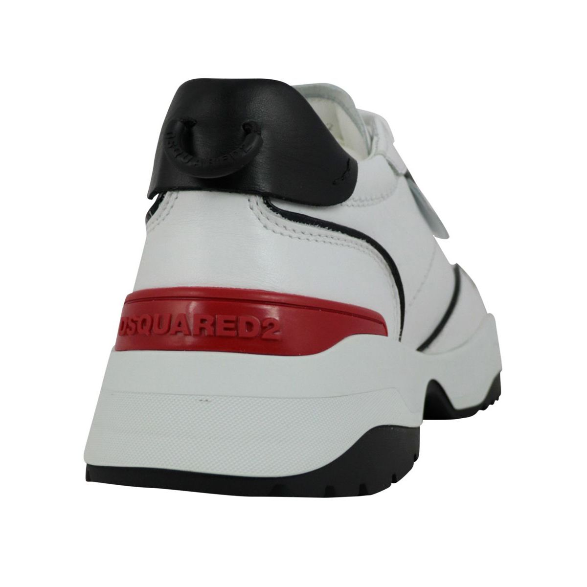 Leather sneakers with logo plate and raised bottom White Dsquared2