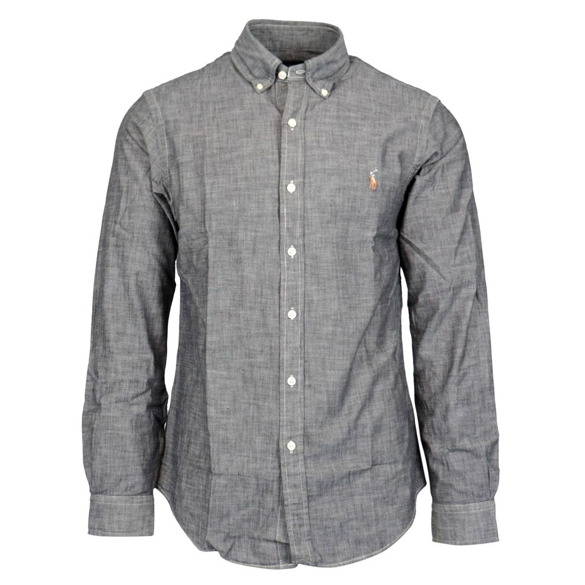 Slim-fit button-down shirt in cotton with logo Grey Polo Ralph Lauren