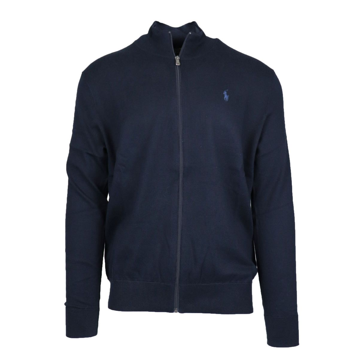 Full zip cotton sweater with stand up collar Navy Polo Ralph Lauren