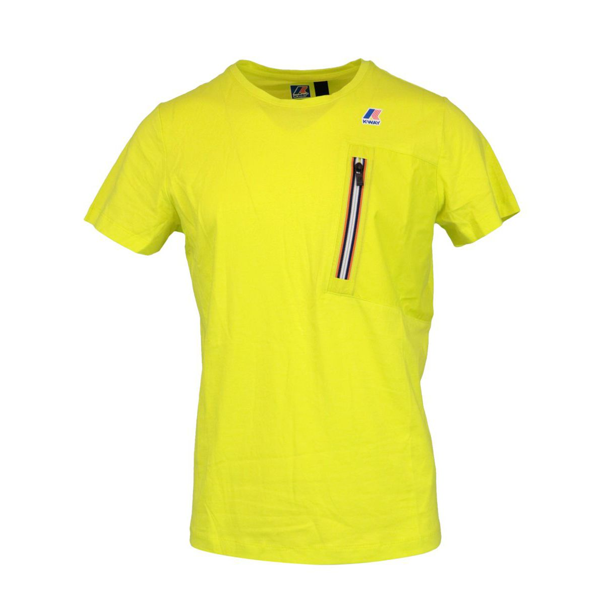 Le Vrai Isaie cotton t-shirt with oblique zip Lime K-Way