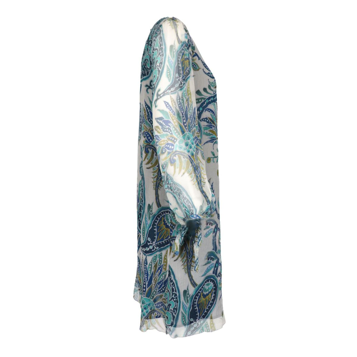 Patterned silk dress with long sleeves White / blue Maliparmi