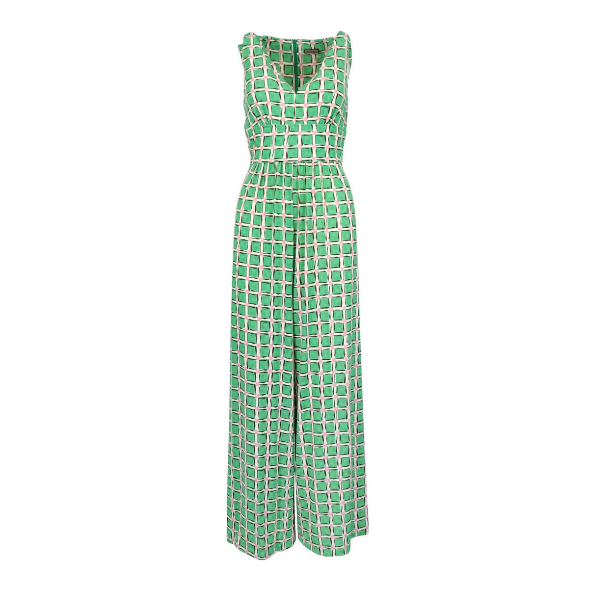 Patterned viscose jumpsuit with wide trousers Green / cream Maliparmi