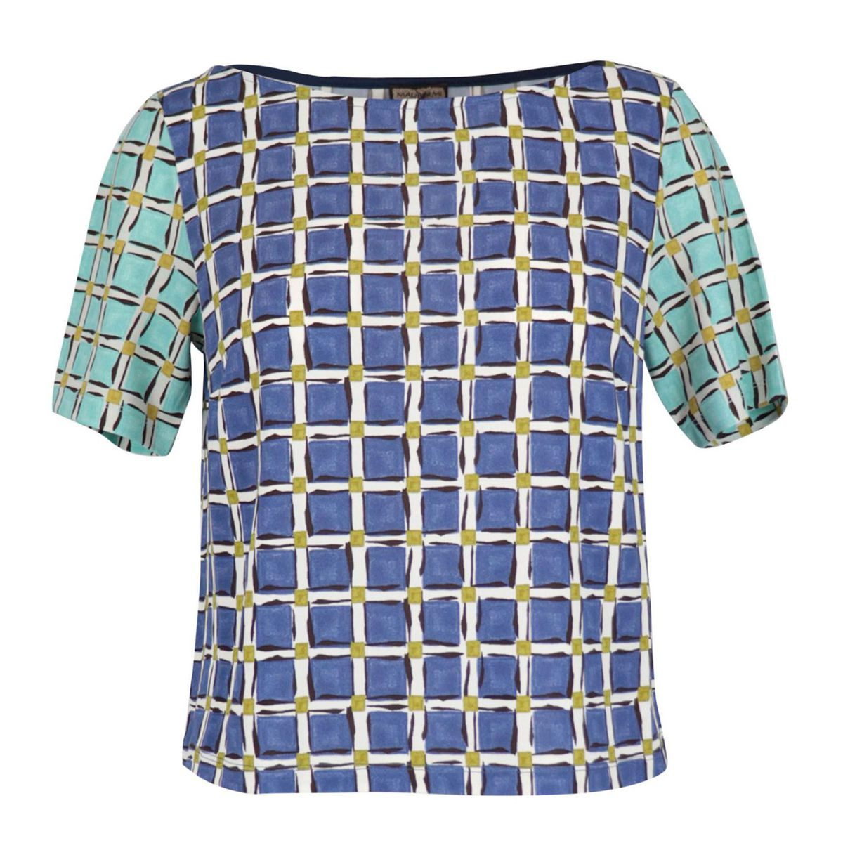 Short-sleeved T-shirt in checked pattern viscose Blue / ivory Maliparmi