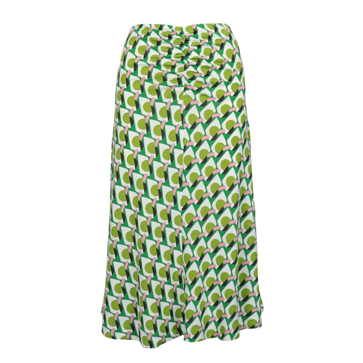 Patterned viscose midi skirt Green / cream Maliparmi