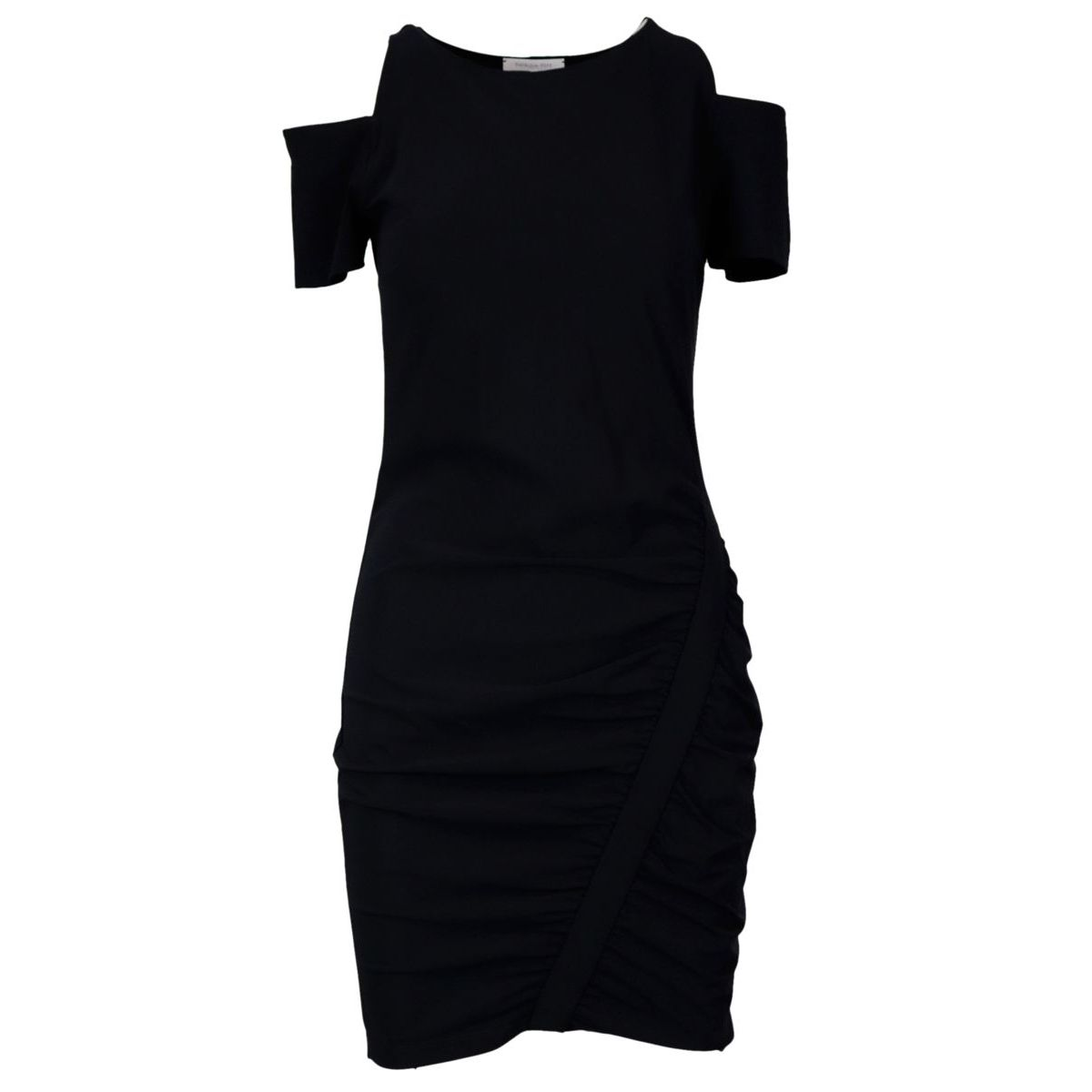 Mini wrap dress in viscose with cut-out on the shoulders Black Patrizia Pepe