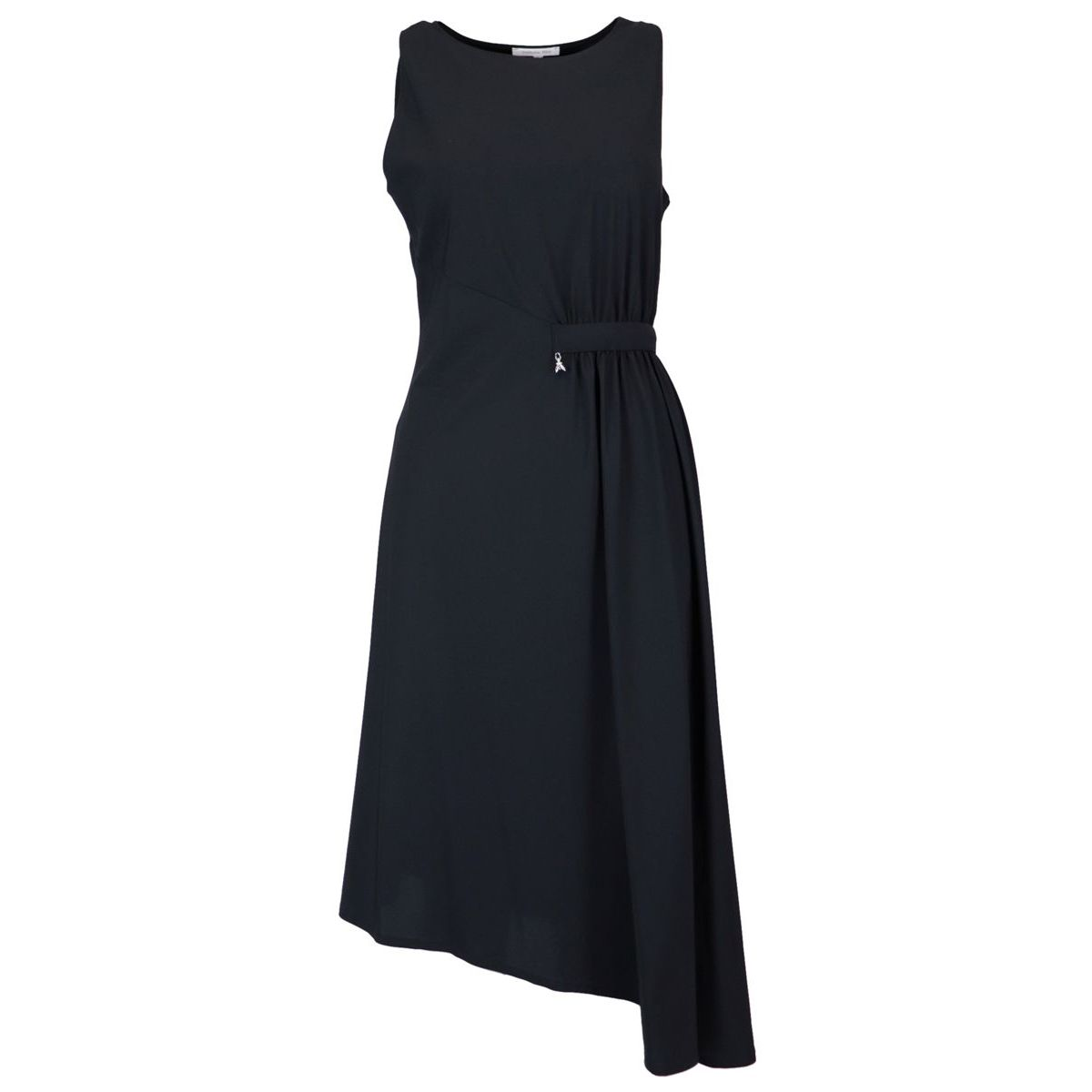 Asymmetrical dress in stretch jersey with draping Black Patrizia Pepe