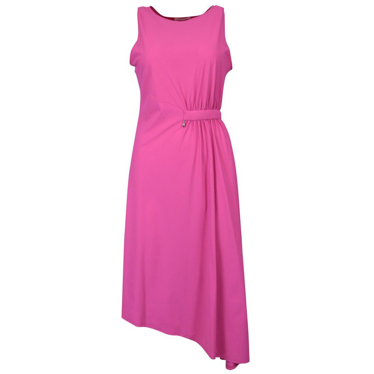 Asymmetrical dress in stretch jersey with draping Orchid Patrizia Pepe