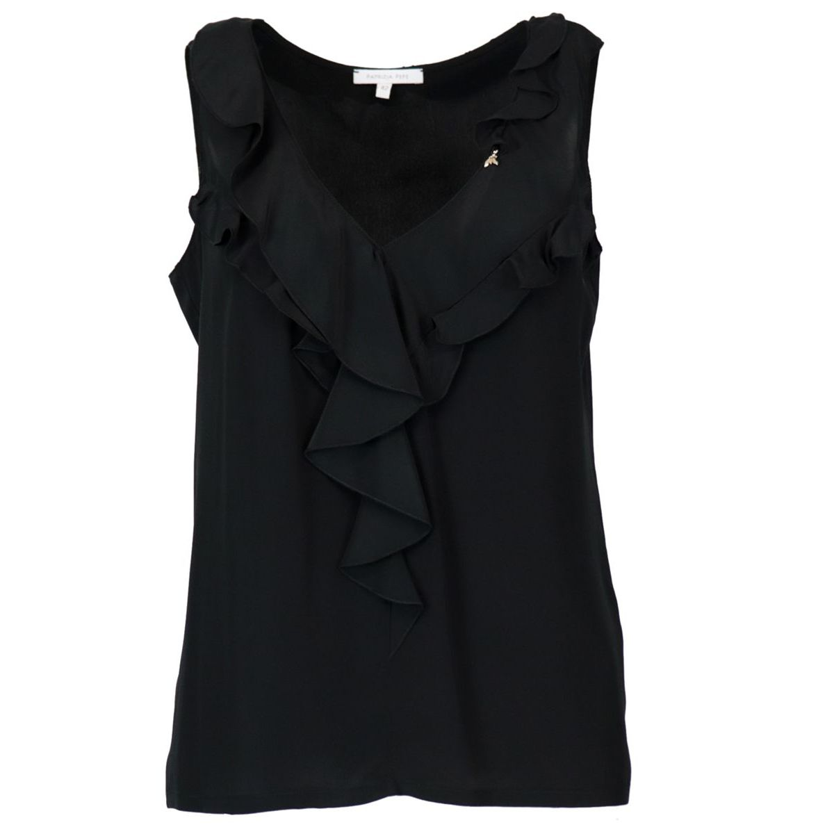 Sleeveless sweater in silk blend with V-neckline and ruffles Black Patrizia Pepe