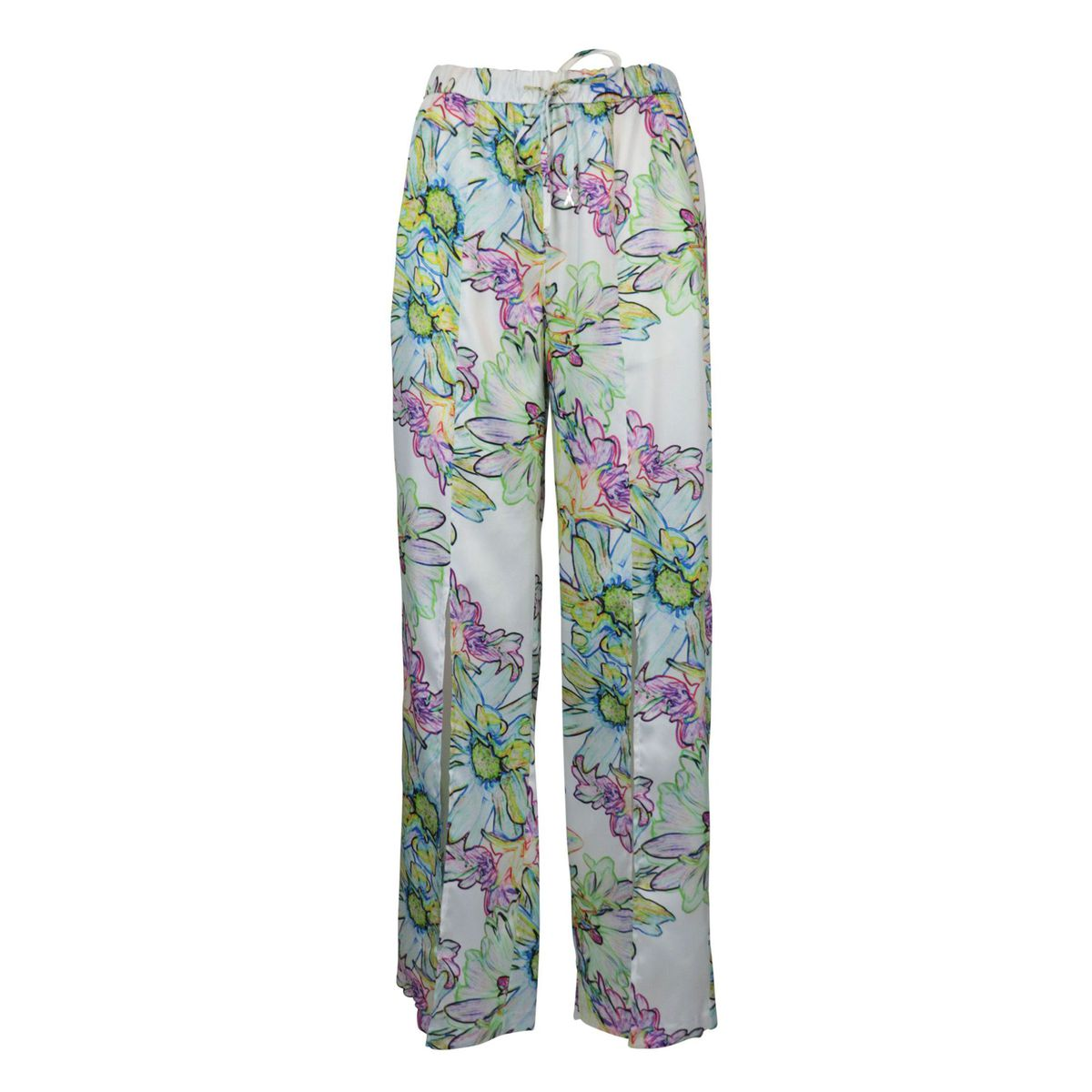 Wide satin effect trousers with multicolor flower print Acid flower Patrizia Pepe