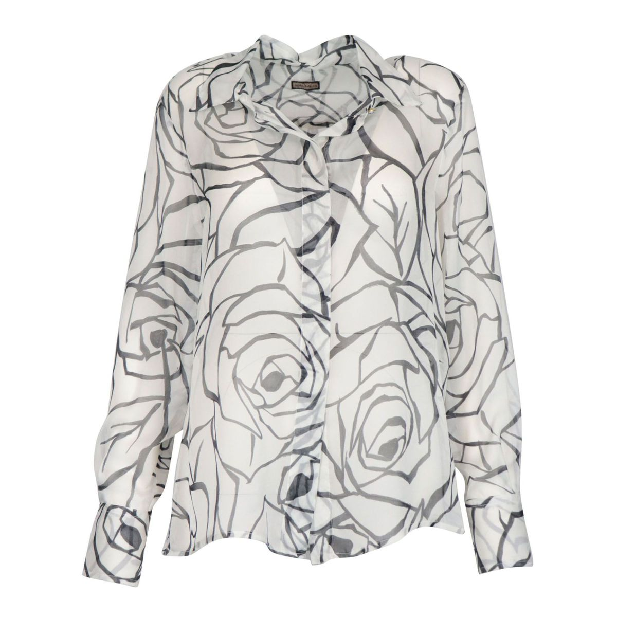 Patterned silk shirt White black Maliparmi