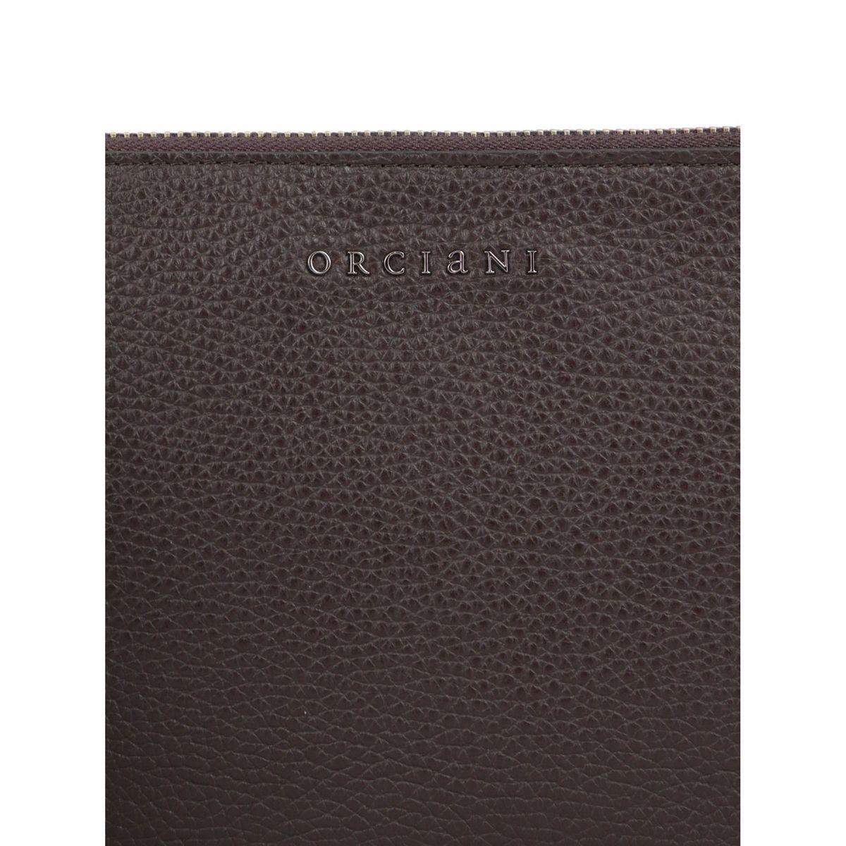Micron leather clutch bag Ebony Orciani