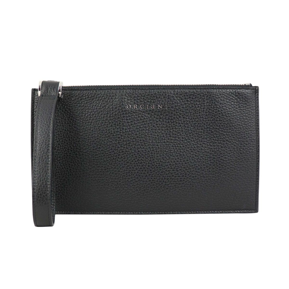 Micron leather clutch bag Black Orciani