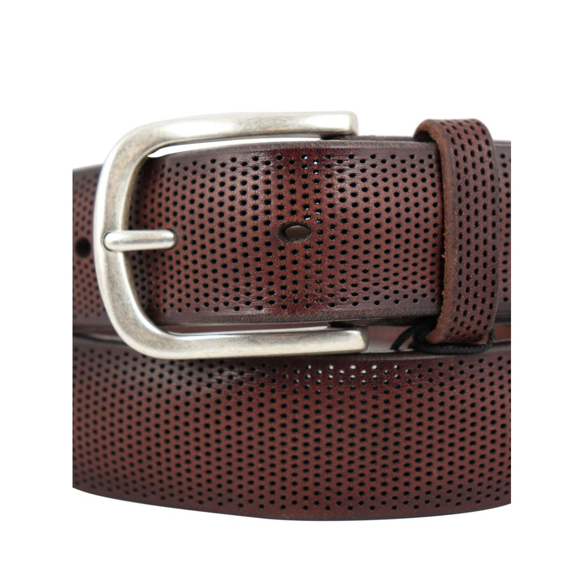 Laser cut leather belt Burnt Orciani