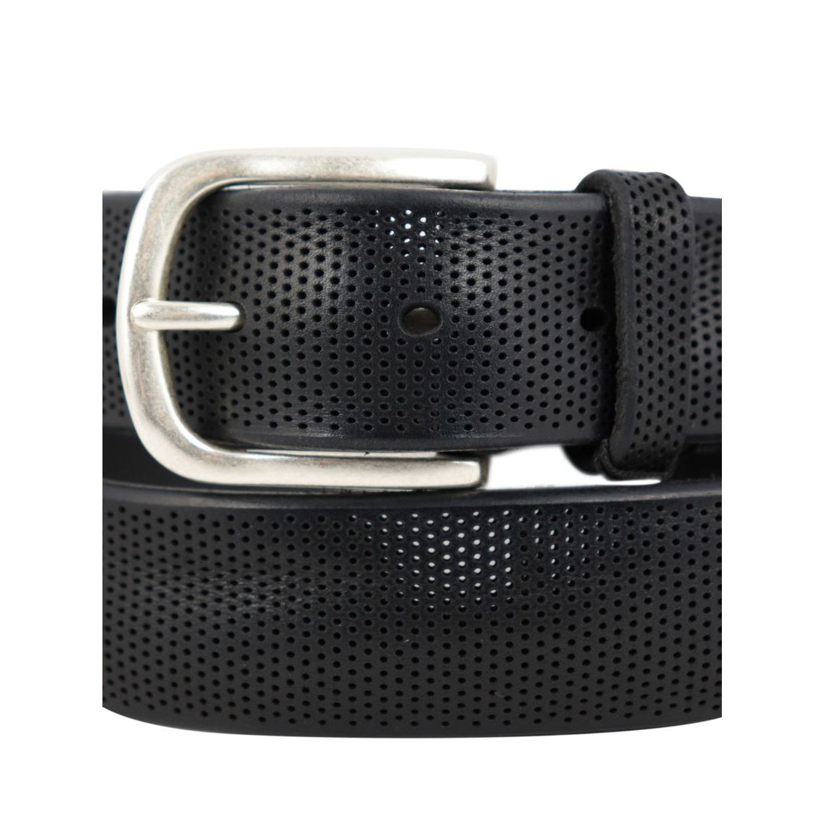 Laser cut leather belt Black Orciani