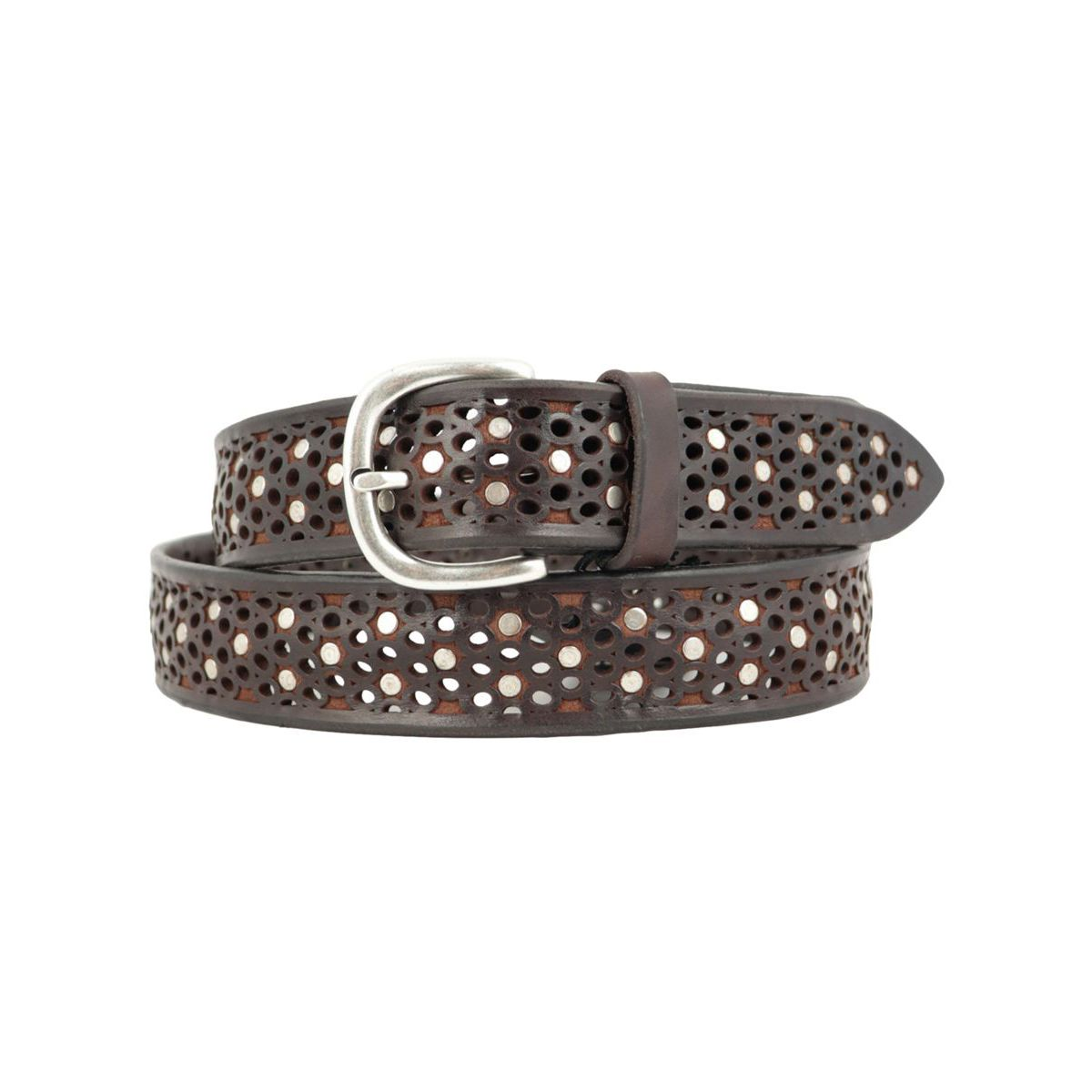 Perforated leather belt with stud applications Moro Orciani