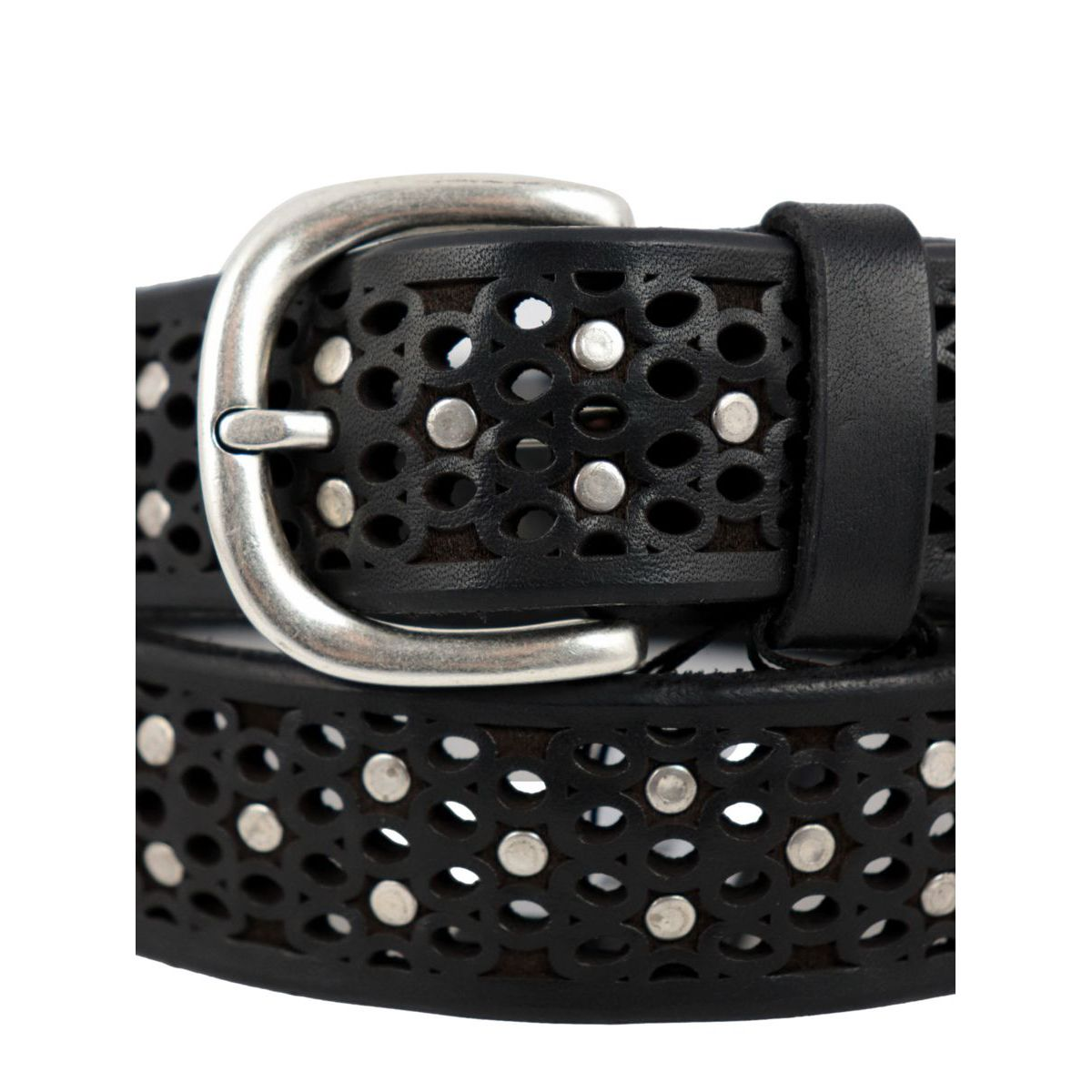 Perforated leather belt with stud applications Black Orciani