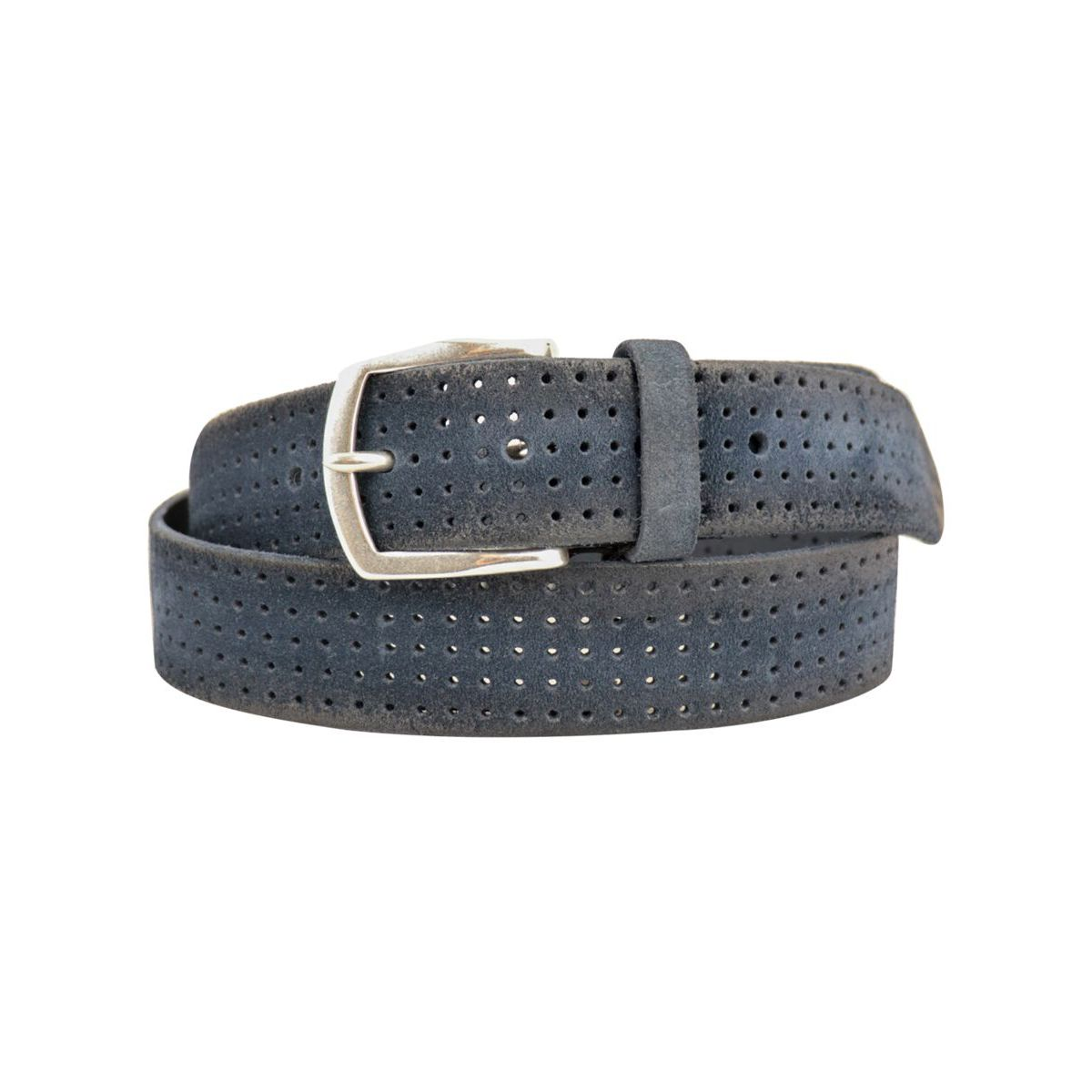 Hunting belt in perforated brushed suede with buckle Blue Orciani