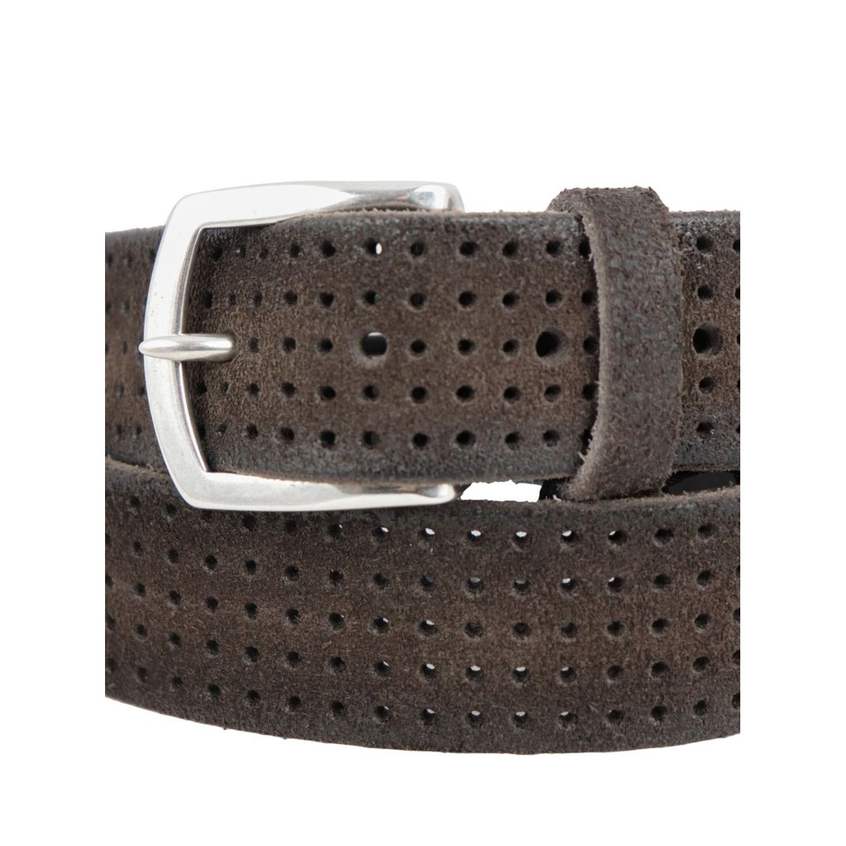 Hunting belt in perforated brushed suede with buckle Moro Orciani