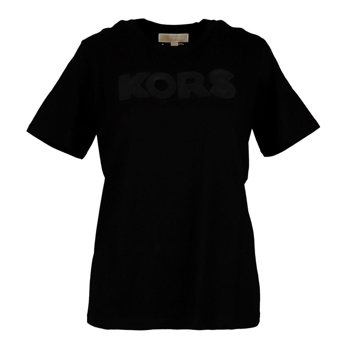 Short-sleeved cotton T-shirt with sequin logo writing Black Michael Kors
