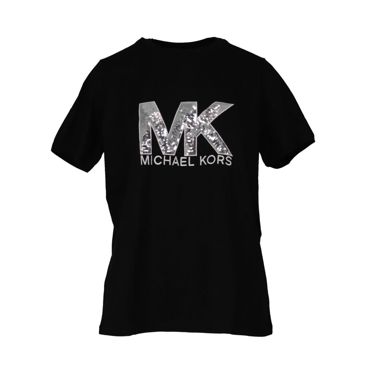 Crew neck t-shirt in cotton jersey with logo and sequins Black Michael Kors