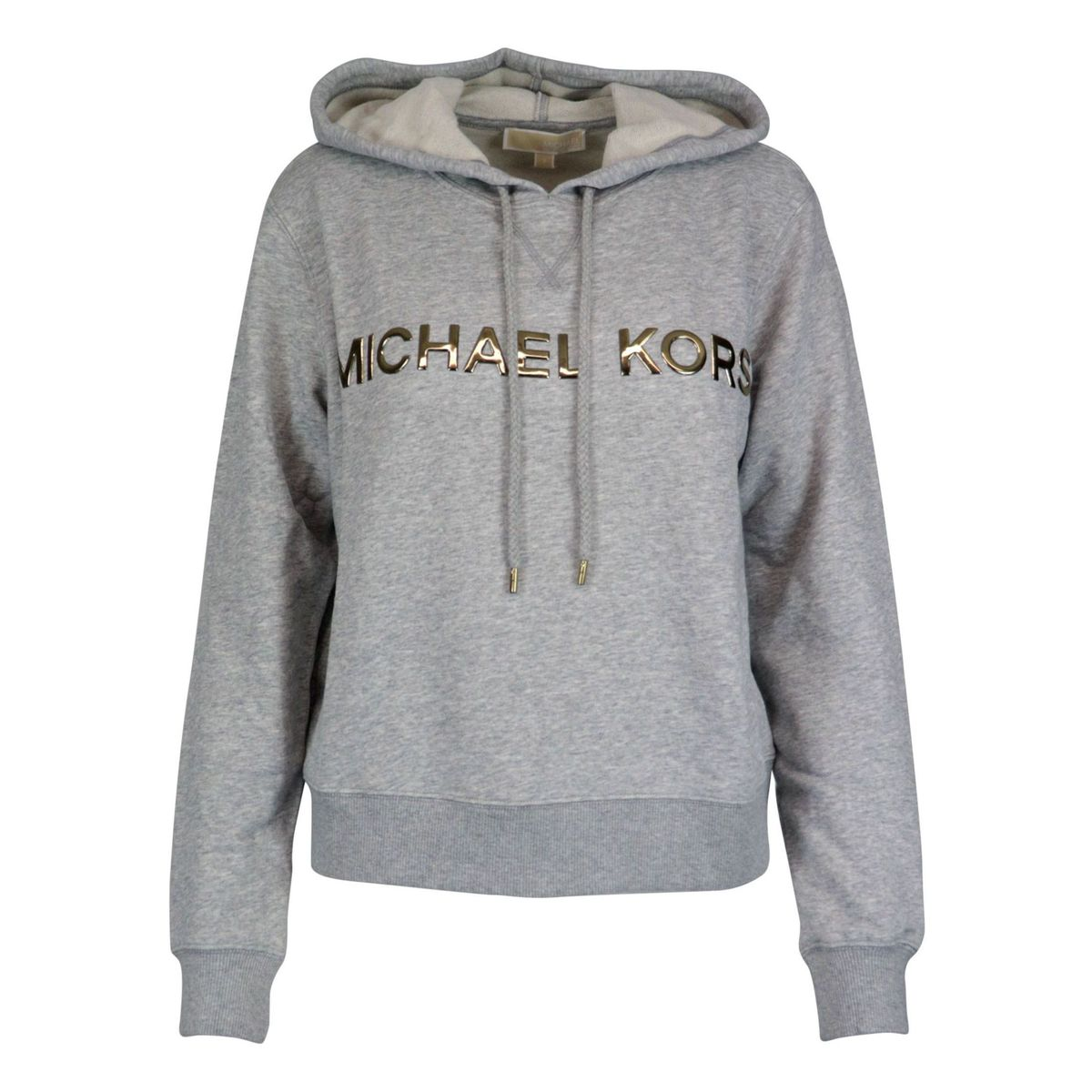 Cotton blend sweatshirt with hood and logo writing Light grey Michael Kors